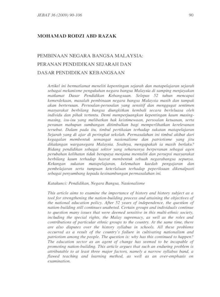 Sejarah Dan Pembinaan Negara Bangsa Malaysia Pdf Document