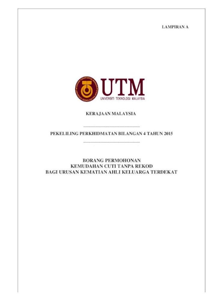 Kerajaan Malaysia Pekeliling Perkhidmatan Pp 4 2015 Borang Cuti Kematian Ahli Keluarga Terdekat Permohonan Kemudahan Cuti Tanpa Rekod Bagi Urusan Kematian Ahli Keluarga Terdekat Pdf Document