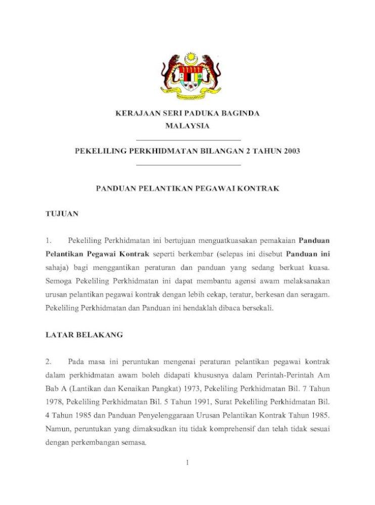 Kerajaan Seri Paduka Baginda Malaysia Pelantikapanduan Pelantikan Pegawai Kontrak Tujuan 1 Pekeliling Perkhidmatan Ini Bertujuan Menguatkuasakan Pemakaian Panduan Dan Program Pdf Document