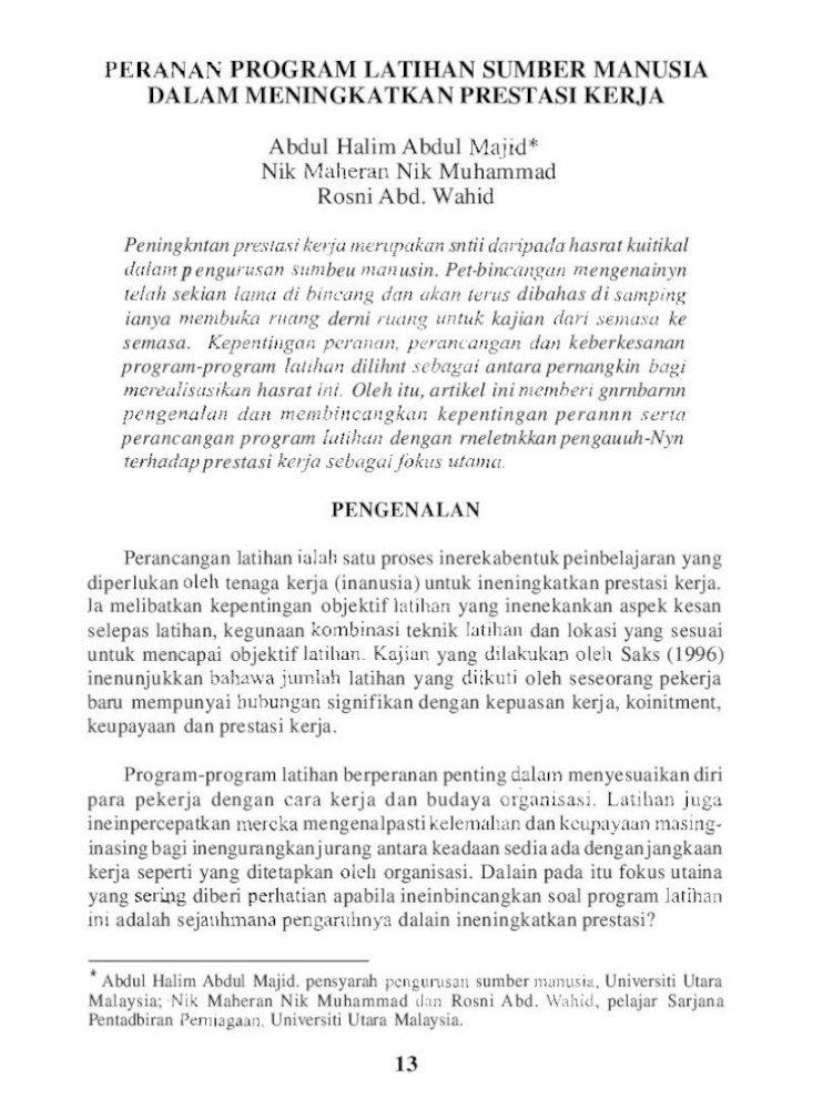 Peranan Program Latihan Sumber Manusia Dalam Pdf Document