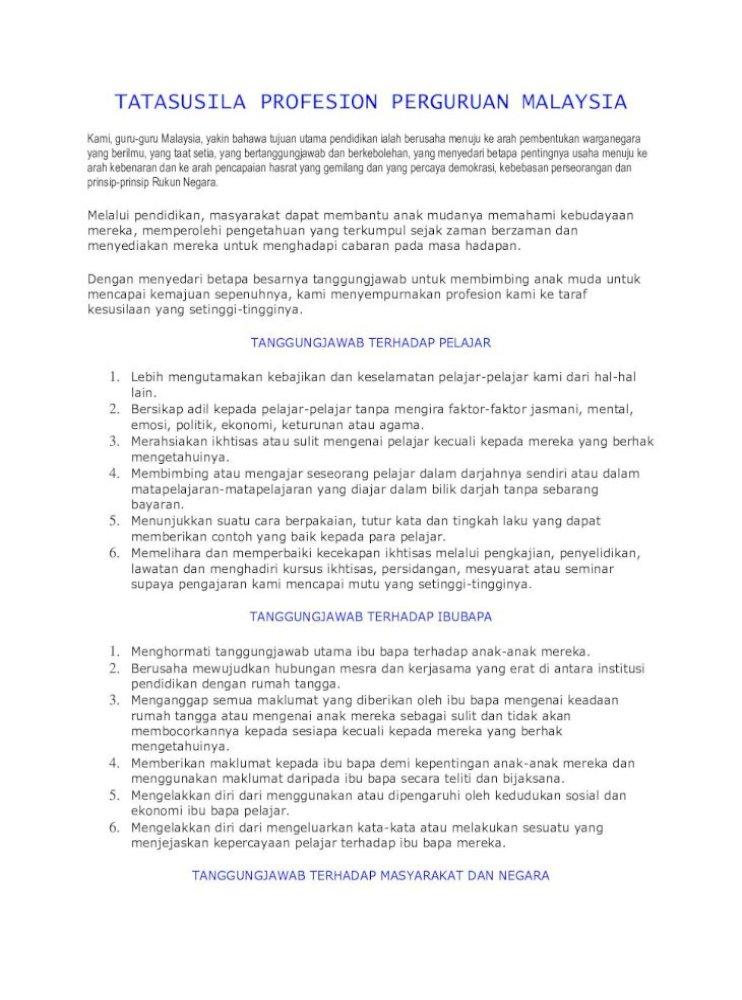 Tatasusila Profesion Perguruan Malaysia Pdf Document