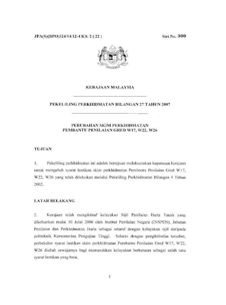 Perubahan Skim Perkhidmatan Pembantu Penilaian Gred W17 Pdf Document