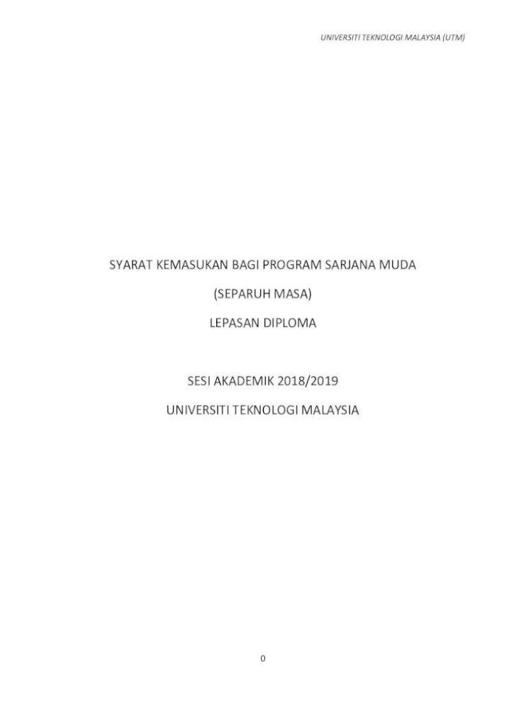 Syarat Kemasukan Utm Lepasan Diploma