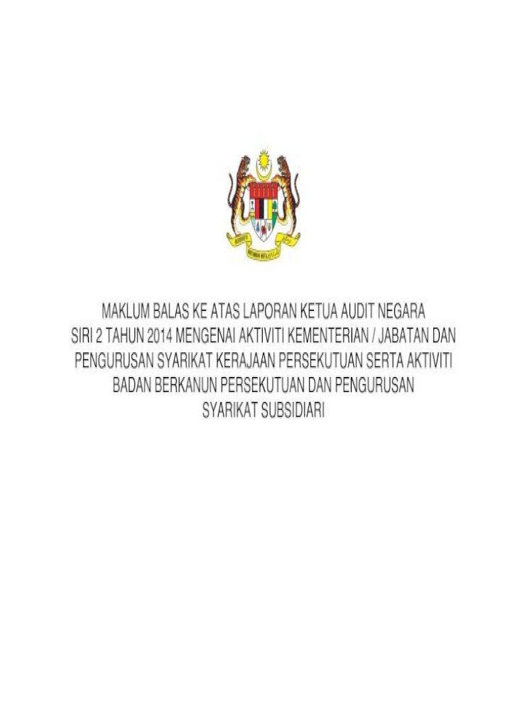 Vii Maklum Balas Bagi Laporan Ketua Audit Negara Siri 2 Tahun 2014 Pengurusan Aktiviti Badan Berkanun Pdf Document