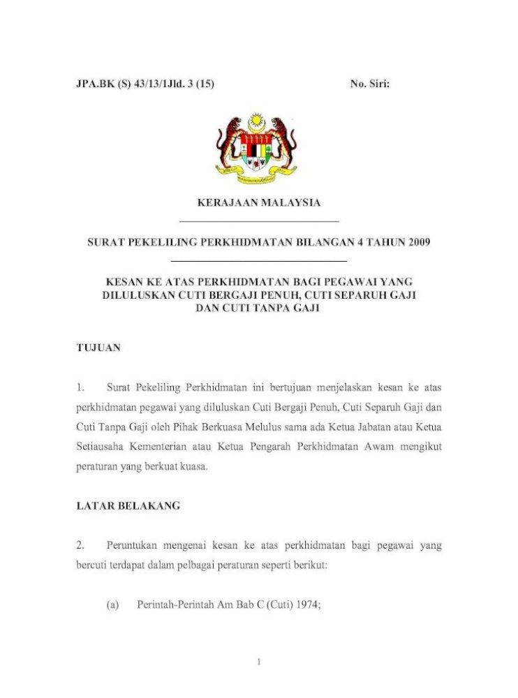 Surat Pekeliling Perkhidmatan Bilangan 4 Tahun 2009 Bagi Maksud Surat Pekeliling Perkhidmatan Ini Pdf Document