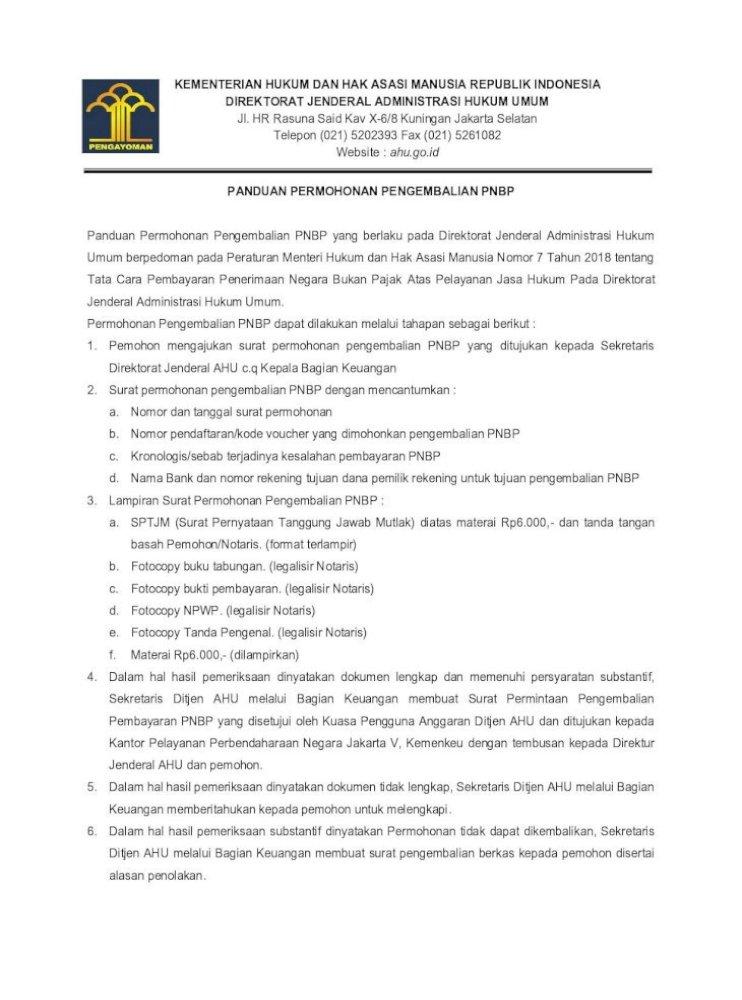 Kementerian Hukum Dan Hak Asasi Manusia Permohonan Pengembalian Pnbp 2019 Pdf Format Terlampir Pdf Document