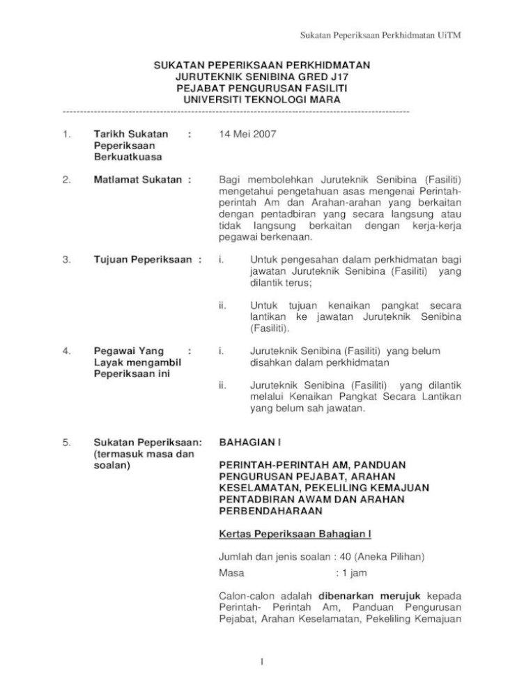 Sukatan Peperiksaan Peperiksaan Perkhidmatan Uitm Peraturan Yang Terpakai Di Uitm Dan Fungsi Fungsi Pdf Document