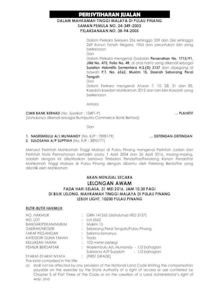 Dalam Mahkamah Tinggi Malaya Di Pulau Pinang Mpp 116 2016 05
