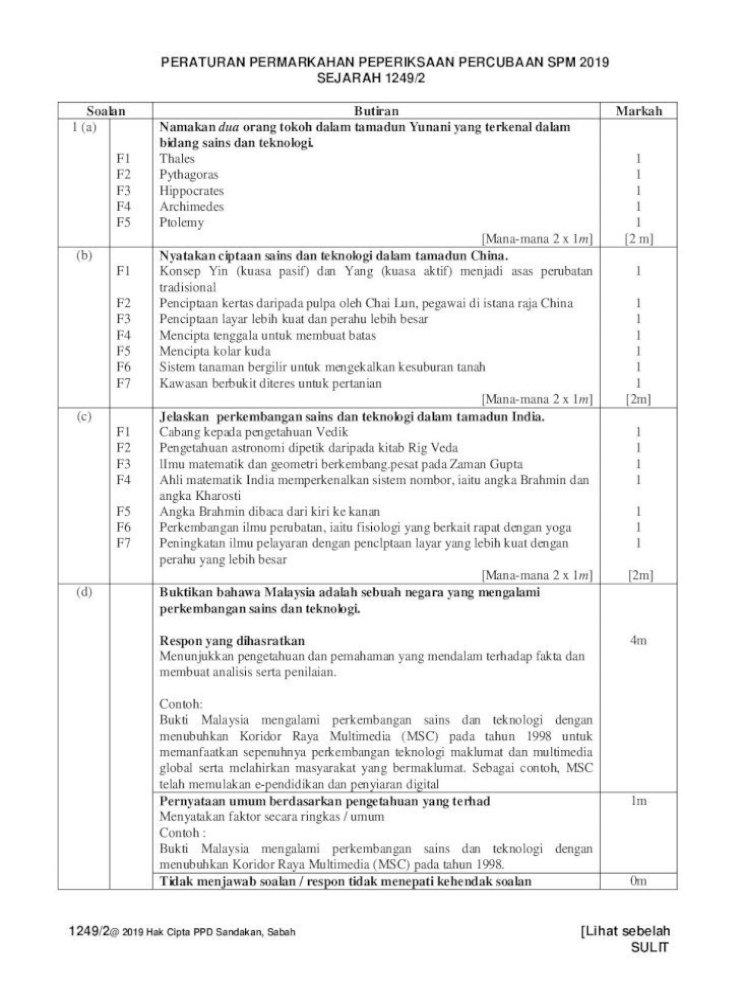 Peraturan Pemarkahan Sejarah Kertas 1249 2 1249 2 Soalan Butiran Markah 1 A Bidang Sains Dan Teknologi Pdf Document