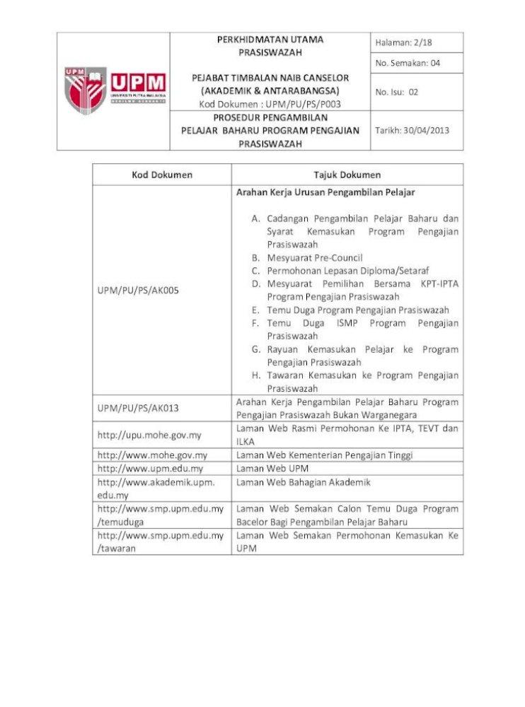 Prosedur Pengambilan Pelajar Baharu Reg Upm Edu My Eiso Docs Pengambilan Pelajar Baharu Program Pdf Document
