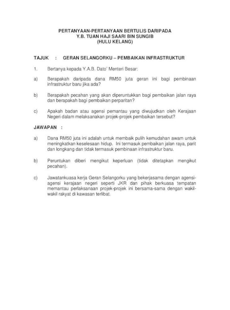 Pertanyaan Pertanyaan Bertulis Daripada Y B Dewan Pertanyaan Pertanyaan Bertulis Daripada Y B Pdf Document