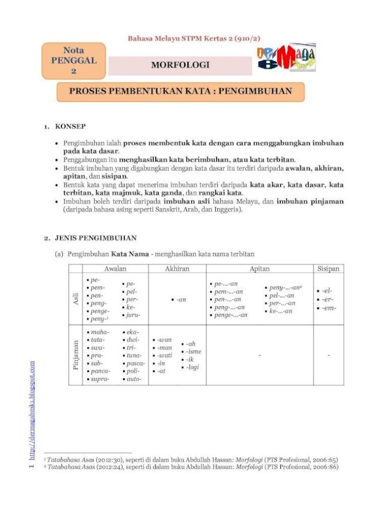 Contoh Kerja Kursus Bahasa Melayu Stpm Penggal 3 Morfologi Kata Sendi Nama