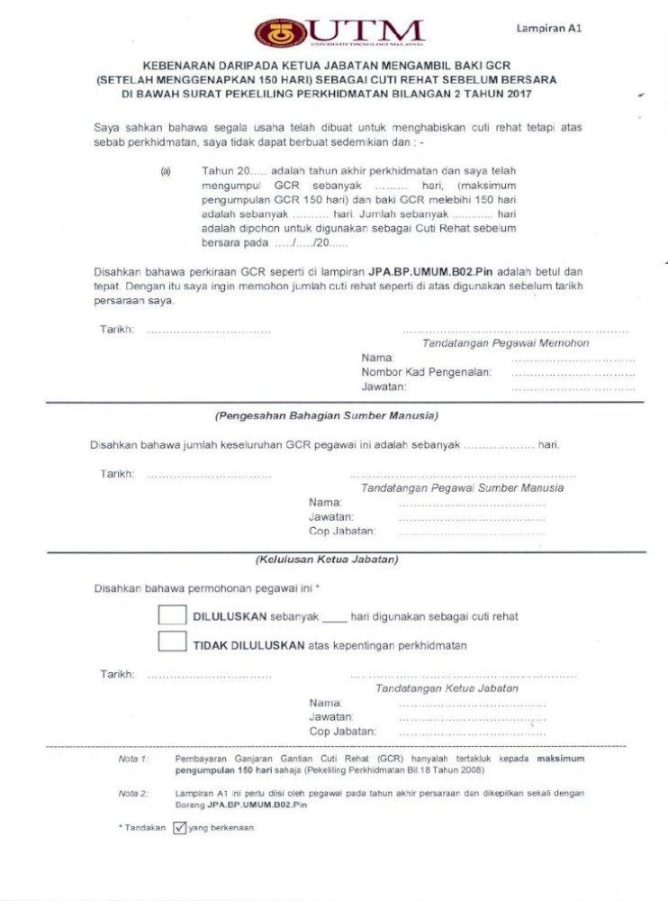 Surat Pekeliling Perkhidmatan Bilangan 2 Tahun 2017 Lampiran Al Kebenaran Daripada Ketua Jabatan Pdf Document