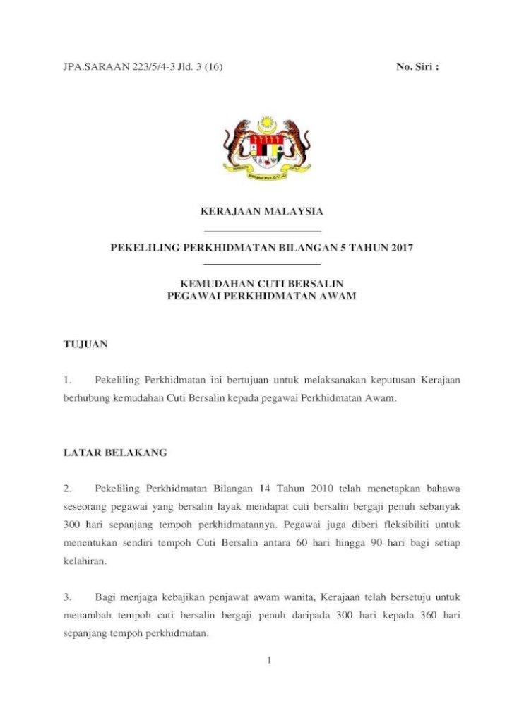 Pekeliling Perkhidmatan Bilangan 5 Tahun 2017 Cuti Bersalin Pegawai Hendaklah Memerlukan Cuti Pdf Document