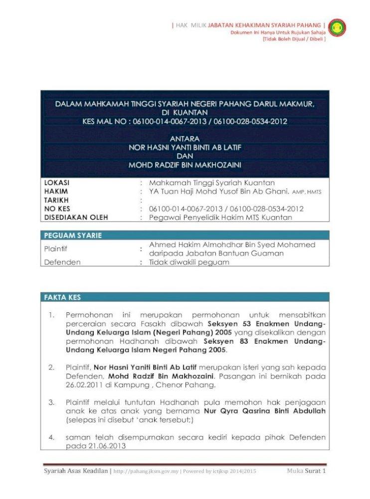 Hak Milik Jabatan Kehakiman Syariah Pahang Undang Undang Kepada Mahkamah Untuk Membicarakan Pdf Document