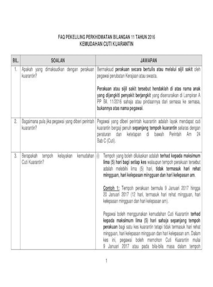 Faq Pekeliling Perkhidmatan Bilangan 11 Tahun Cuti Kuarantin Faq Pdfkepentingan Perkhidmatan Walaupun Pdf Document