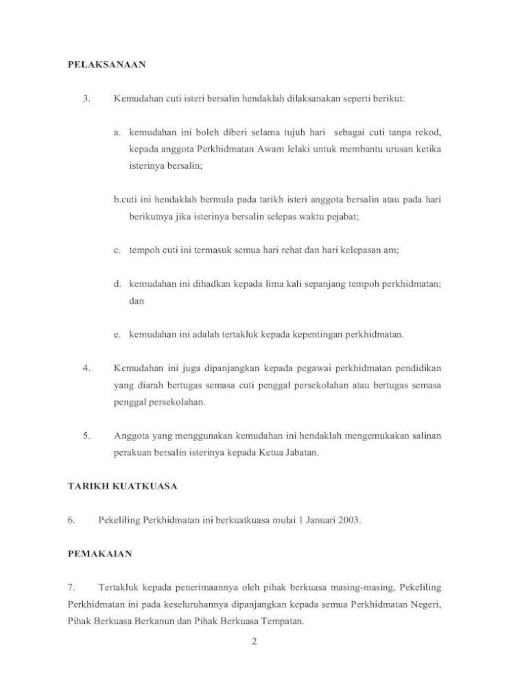 Kemudahan Cuti Isteri Bersalin Docs Jpa Gov My Pelaksanaan 3 Kemudahan Cuti Isteri Bersalin Hendaklah Pdf Document