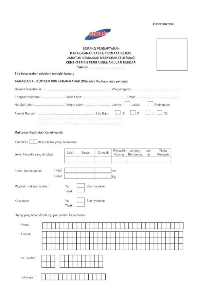 Borang Pendaftaran Kanak Kanak Taska Permata Kanak Kanak Taska