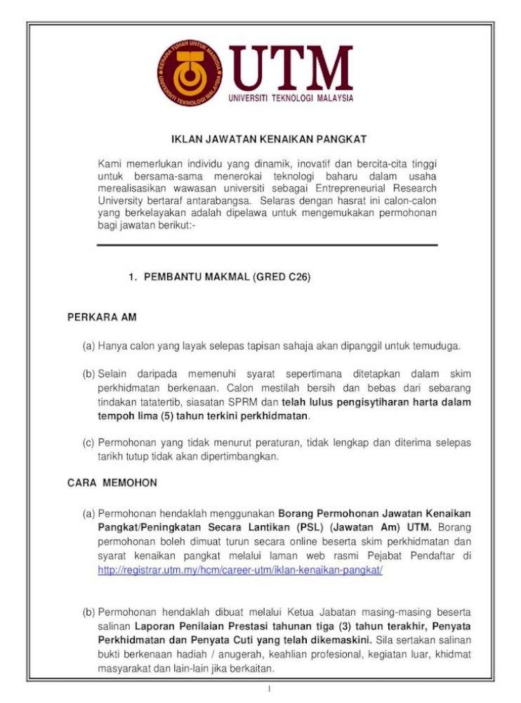 Iklan Jawatan Kenaikan Pangkat Pejabat Pendaftar 1 Iklan