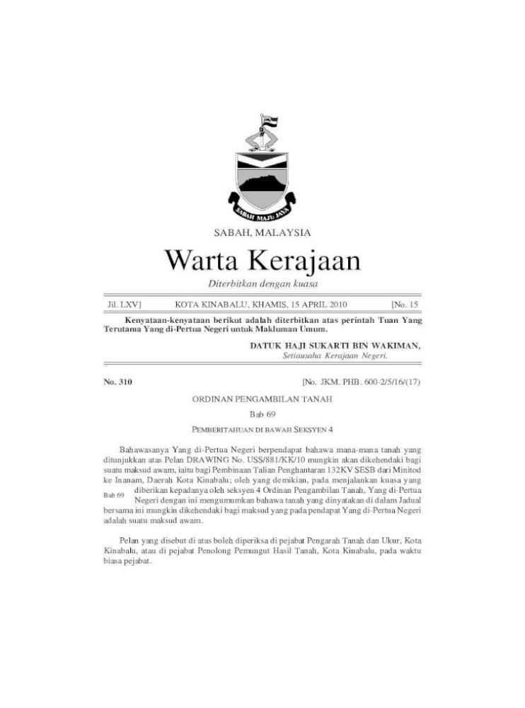 Sabah Malaysia Warta Kerajaan Pelan Yang Disebut Di Atas Boleh Diperiksa Di Pejabat Pengarah Tanah Pdf Document
