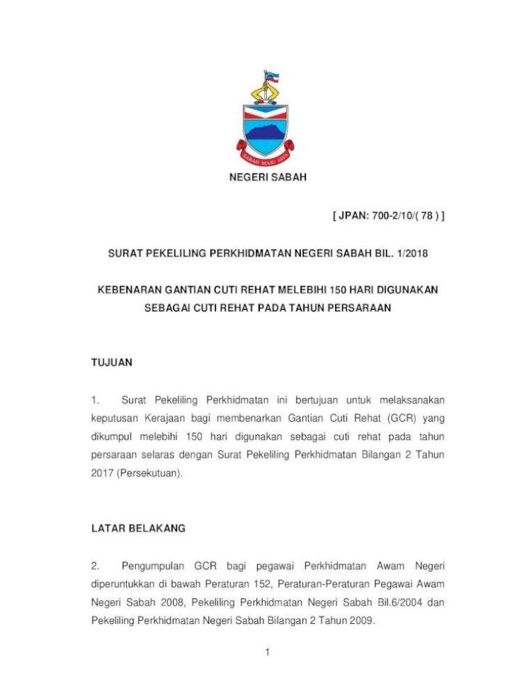 Negeri Sabah Jpan 700 2 10 78 Surat Gcr Yang Melebihi