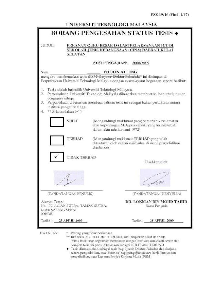Universiti Teknologi Malaysia Borang Pengesahan Guru Besar Dalam Pelaksanaan Ict Di Sekolah Jenis Kebangsaan Pdf Document