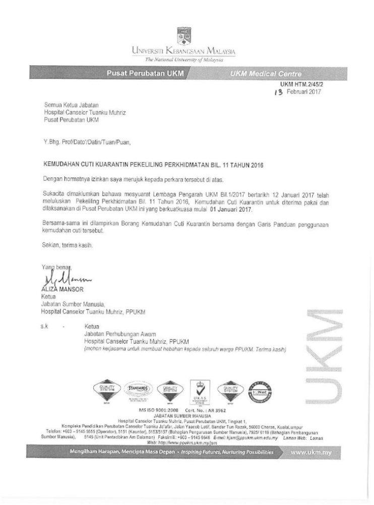 Km 454e 20170213154131 Ukm My Pekeliling Perkhidmatan Bil 11 Tahun 2016 Kemudahan Cuti Kuarantin Pdf Document
