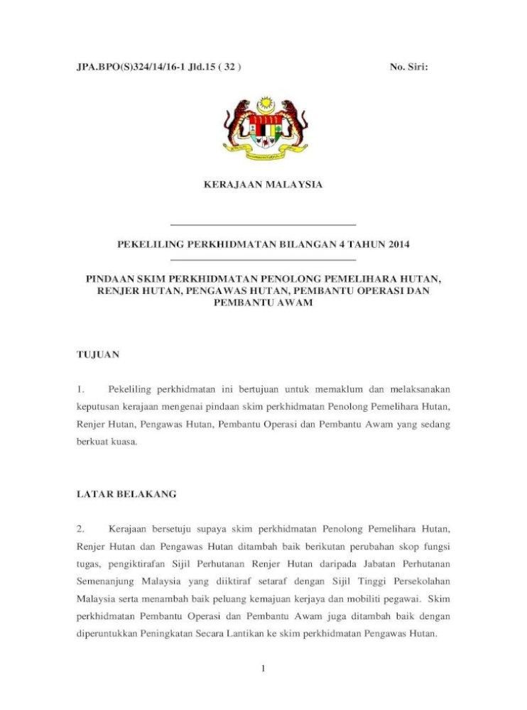 Pekeliling Perkhidmatan Bilangan 4 Tahun Malaysia Atau Diploma Dalam Bidang Perhutanan Contoh Surat Pdf Document