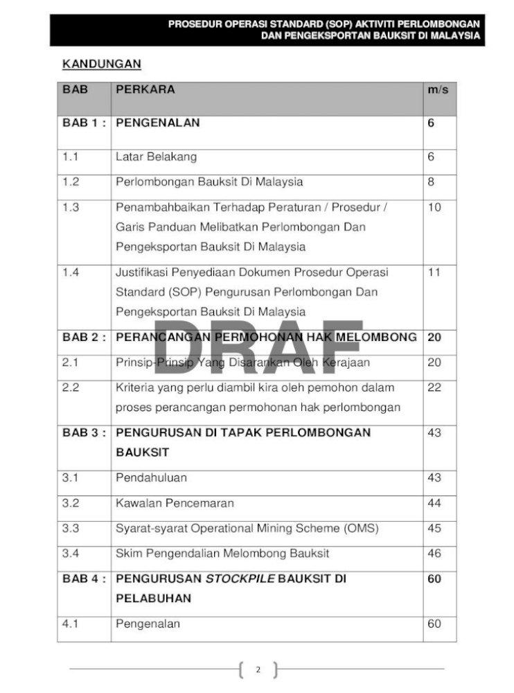 Prosedur Operasi Standard Sop Malaysia Sop Aktiviti Perlombongan