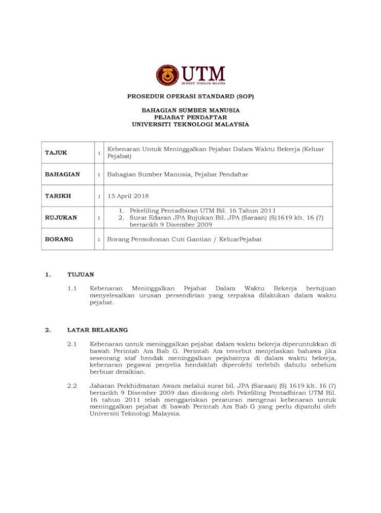 Prosedur Operasi Standard Sop Bahagian Bawah Perintah Am Bab G Perintah Am 2 2 Jabatan Perkhidmatan Pdf Document