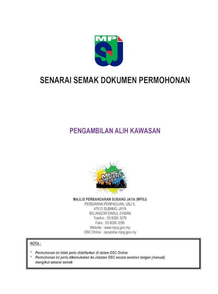 Senarai Semak Dokumen Permohonan Senarai Semak Permohonan Potong Rumput Cuci Longkang Sapu Pdf Document