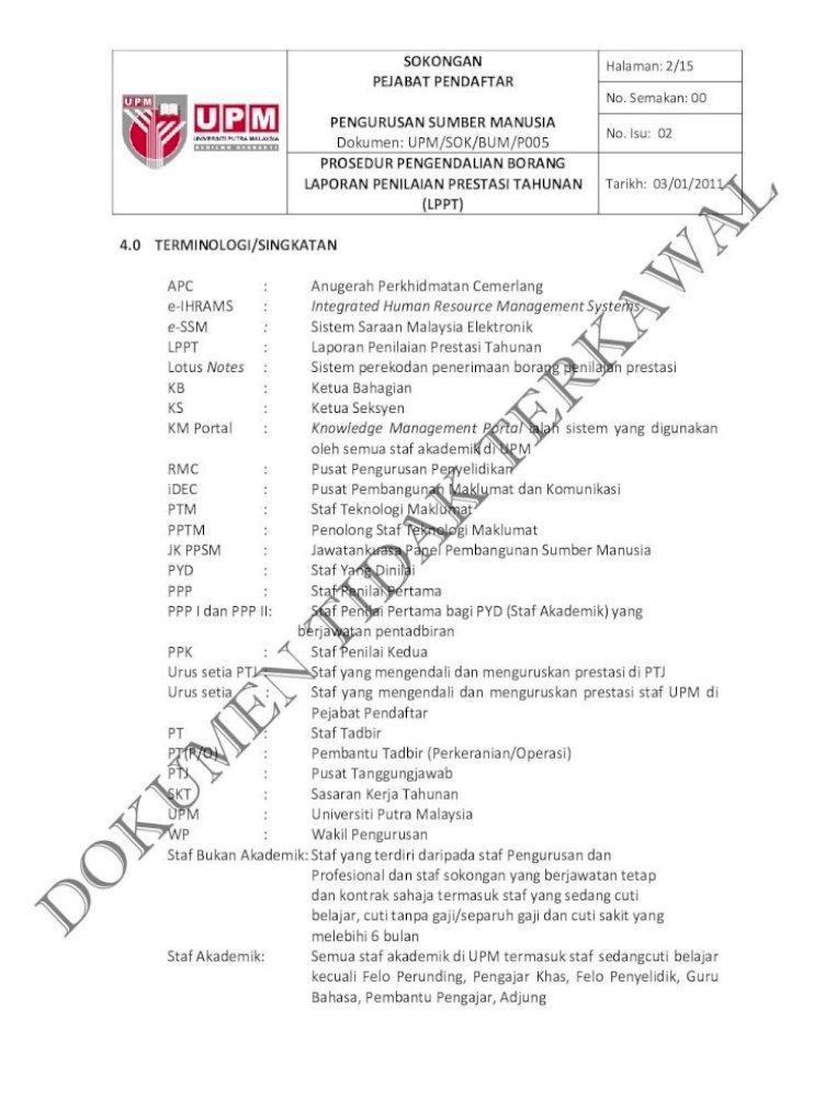 Prosedur Pengendalian Borang Laporan Penilaian Reg Upm Edu My Spk Upm Sok Bum Web Sok Bum Watermark Prosedur Sok Bآ Pdf Document