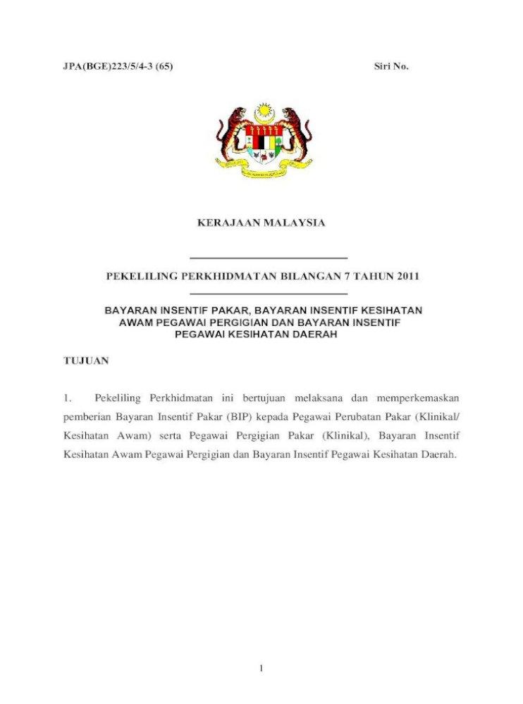 Kerajaan Malaysia Pekeliling Perkhidmatan Pekeliling Perkhidmatan Bilangan 7 Tahun 2011 Tujuan Pdf Document