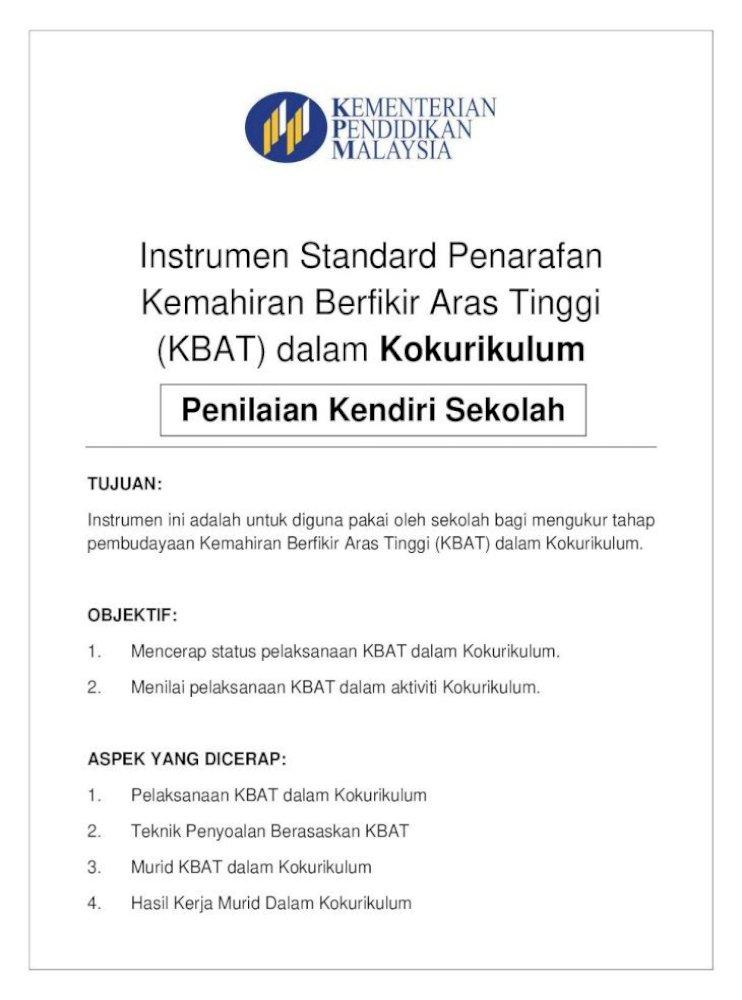 Instrumen Standard Penarafan Kemahiran Berfikir Aras Murid Kbat Dalam Kokurikulum 4 Berdasarkan Pdf Document