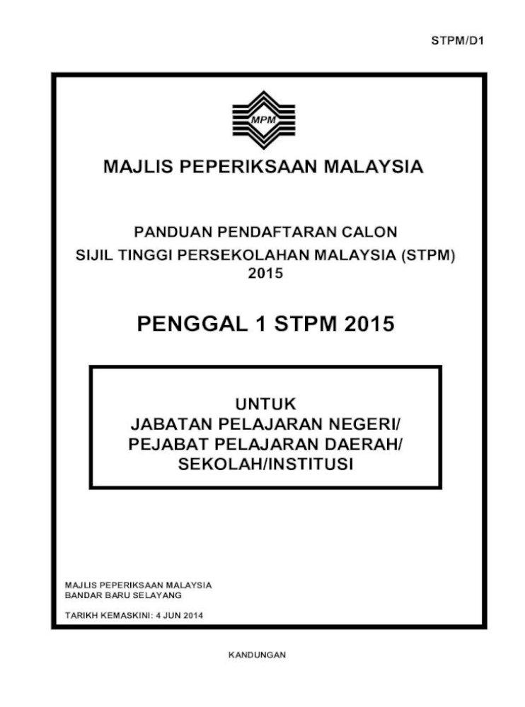 Penggal 1 Stpm 2015 Baharu Jadual Waktu 140614 Majlis Peperiksaan Malaysia Kandungan Bandar Baru Pdf Document