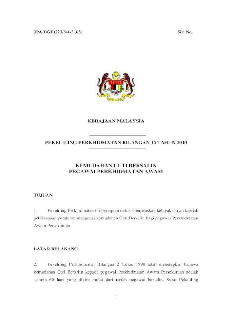 Pekeliling Perkhidmatan Bilangan 14 Tahun Perkhidmatan Bil 2 Perkhidmatan Bilangan 5 Tahun 2009 Pdf Document