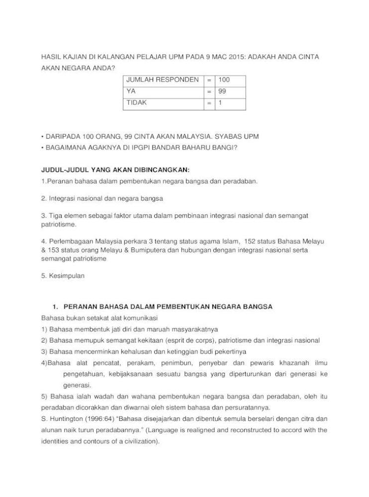 Elemen Utama Dalam Pembentukan Bangsa Malaysia