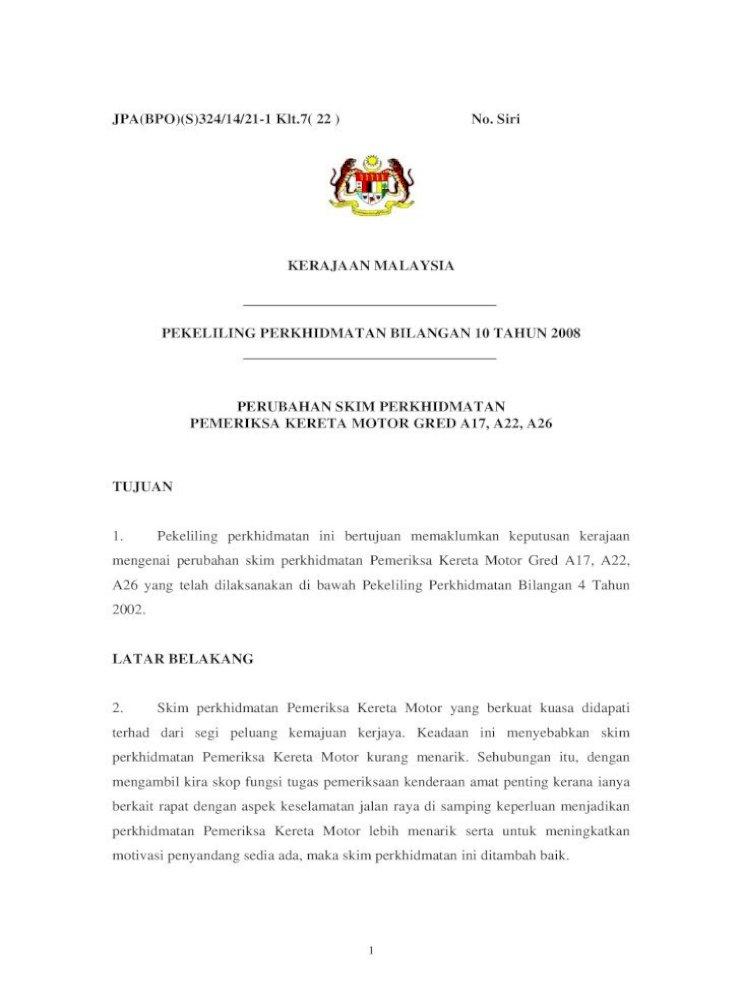 Pekeliling Perkhidmatan Bilangan 10 Tahun 2017 03 03 Selaras Dengan Keputusan Kerajaan Supaya Pdf Document
