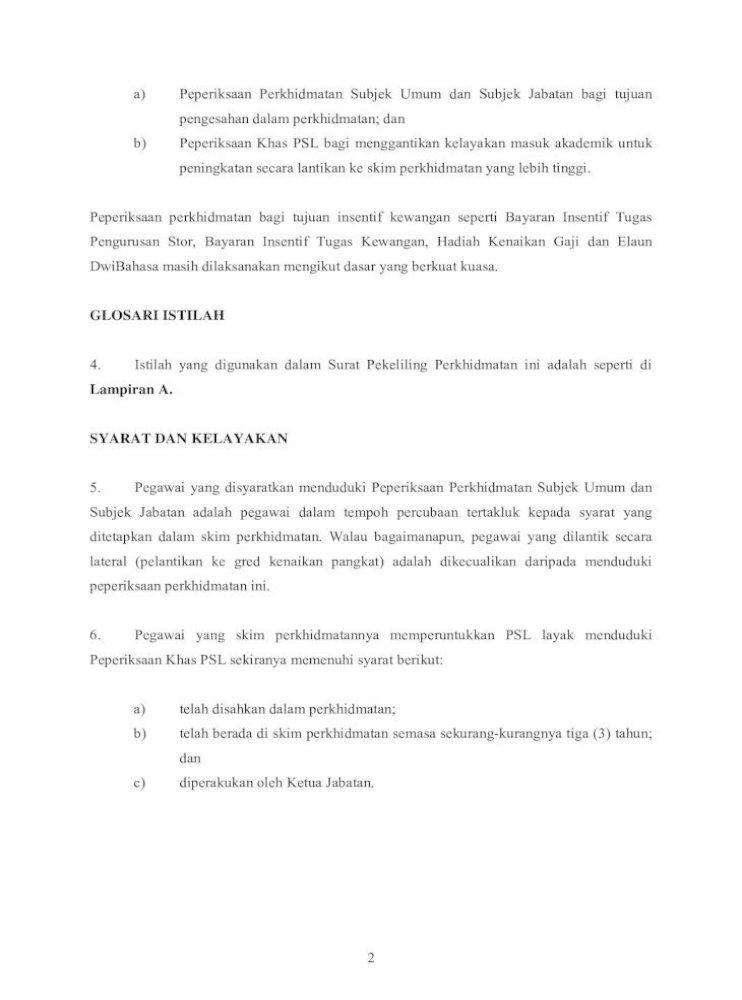 Surat Pekeliling Perkhidmatan Bilangan 5 Tahun 2011 2 A Peperiksaan Perkhidmatan Subjek Umum Dan Pdf Document