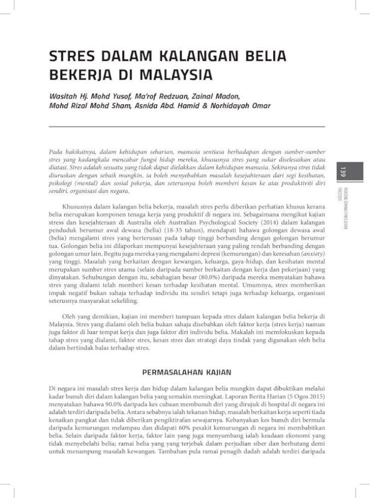Stres Dalam Kalangan Belia Bekerja Di Malaysia 2 8 Pdf Belia Merupakan Komponen Tenaga Kerja Yang Pdf Document