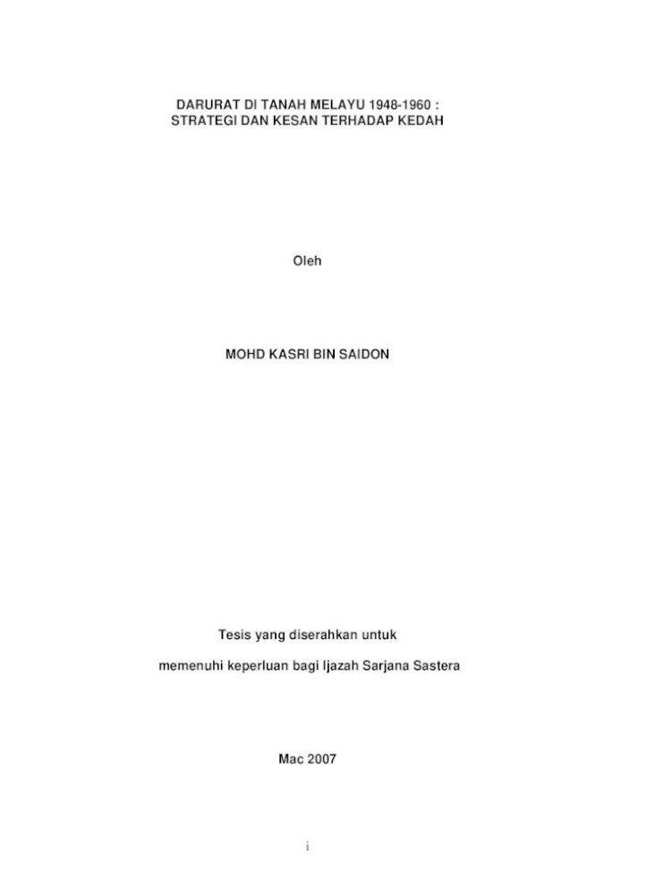 Darurat Di Tanah Melayu 1948 1960 Strategi Dan Darurat Di Tanah Melayu 1948 1960 Strategi Dan Kesan Pdf Document