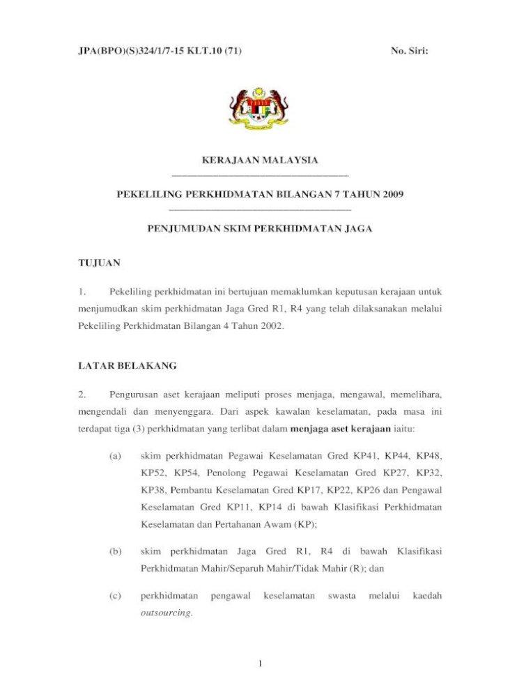 Pekeliling Perkhidmatan Bilangan 7 Tahun 2009 Pengurusan Aset Kerajaan Meliputi Proses Menjaga Mengawal Pdf Document