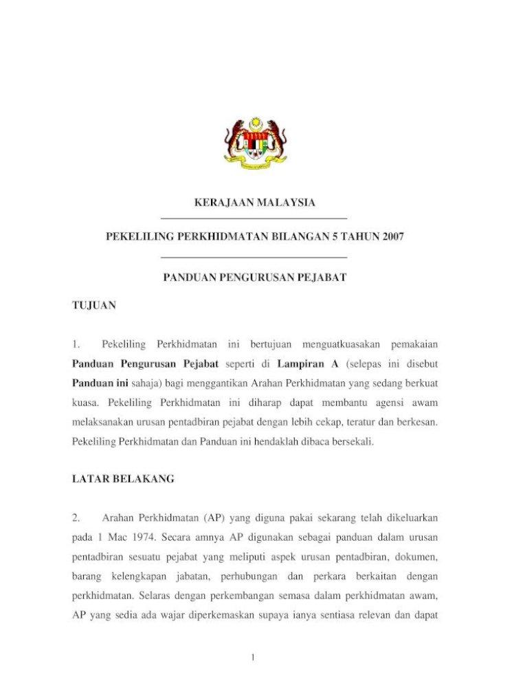 Kerajaan Malaysia Panduan Pengurusan Pejabat Kerajaan Malaysia Pekeliling Perkhidmatan Bilangan 5 Pdf Document