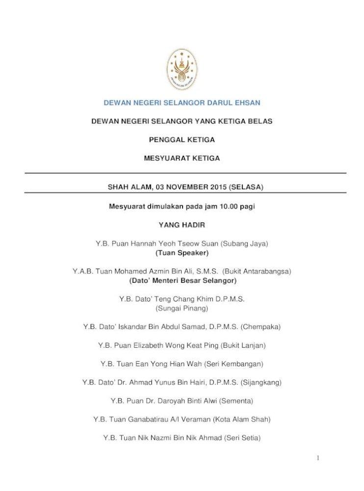 Dewan Negeri Selangor Darul Ehsan Dewan Negeri Dewan 03 آ Contoh Kita Menerima Sejumlah Rm30 404 337 11 Pdf Document