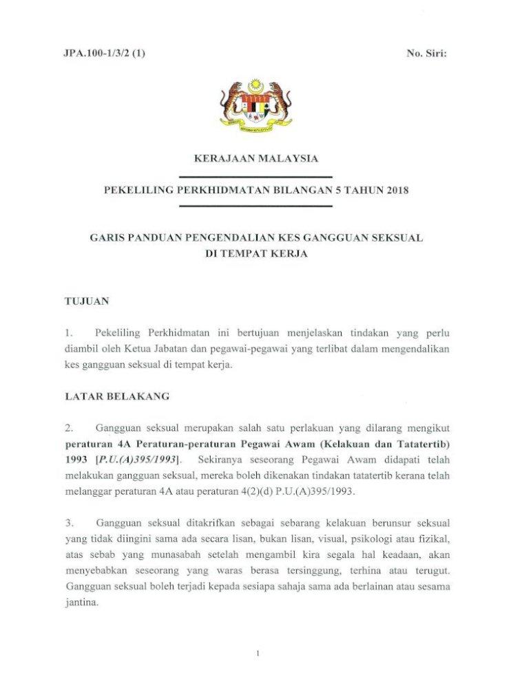 Pekeliling Perkhidmatan Bilangan 5 Tahun 2018 2018 12 19آ Jpa 100 1 3 2 1 Kerajaan Malaysia No Siri Pdf Document