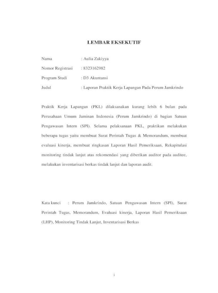Laporan Praktik Kerja Lapangan Pada Satuan Pengawasan Pkl Aulia Zakiyya آ 2019 07 16آ Laporan Praktik Pdf Document