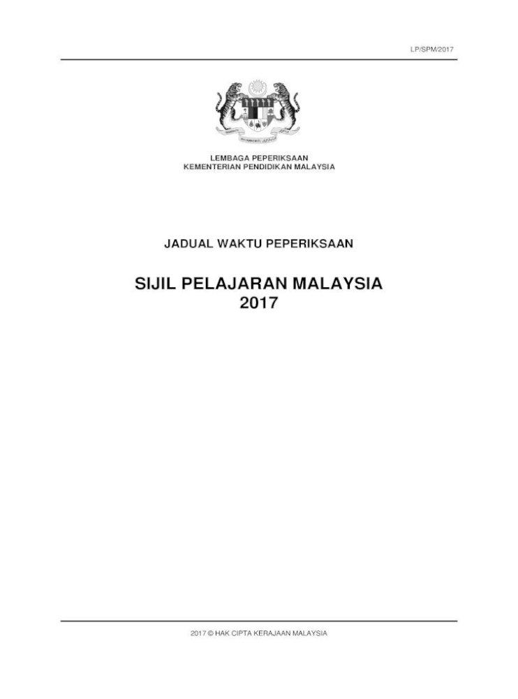 Sijil Pelajaran Malaysia 2017 Bahagian B Pengetua Arahan Am Pengetua Hendaklah 1 Mengedarkan Jadual Pdf Document
