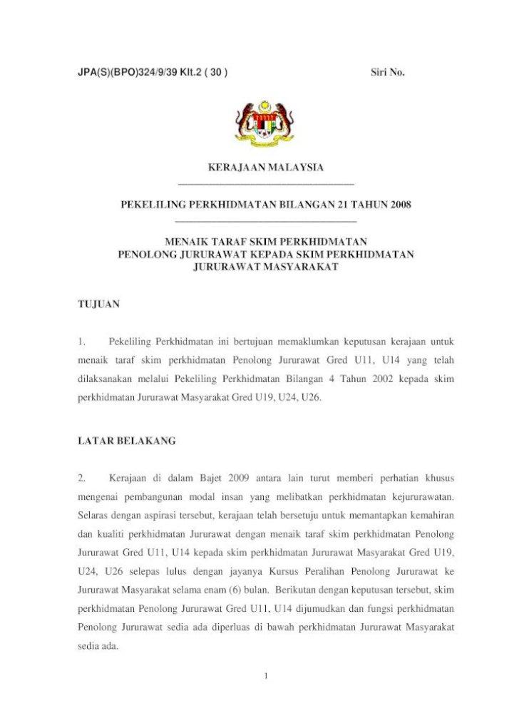 Pekeliling Perkhidmatan Bilangan 21 Tahun 2008 Serta Mempunyai Sekurang Kurangnya 10 Tahun Pengalaman Pdf Document