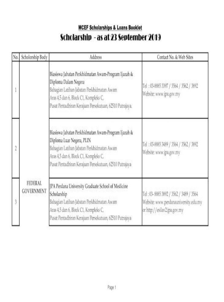 Mcef Scholarships Loans Booklet Scholarship As At 23 Yayasan Tunku Abdul Rahman A 10 12 Menara Pdf Document