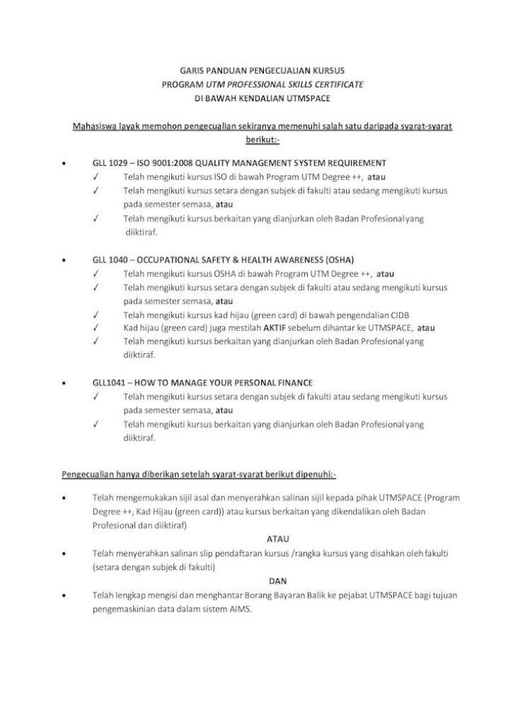 Garis Panduan Pengecualian Kursus Program Utm Pdf Document